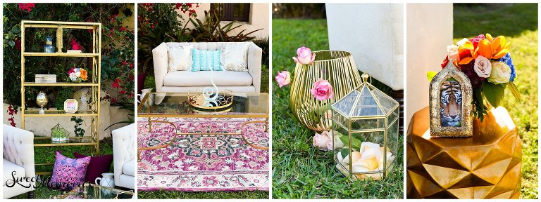 Vibrant floral arrangements, luxurious gold details, a sparkling bridal gown…and a cozy lounge area with a magic carpet! This styled shoot is the perfect nod to Disney's Aladdin.