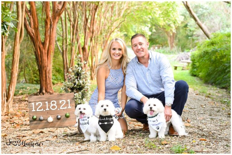 This Waco engagement session with a beautiful couple and their three furbabies was so much fun!